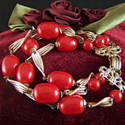 Vintage 3 - Strand Lipstick Red Beads and Gold Toned 1950s Bracelet
