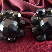 Vintage Sterling Silver and Jet Black Glass or Onyx Faceted Beads Screw Back Earrings