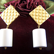 Vintage Mod Brushed Waffle Post Earrings with Bright White Lucite dangling Barrels