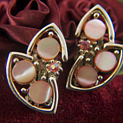 Vintage signed TARA Pink Mother of Pearl and Rhinestone Gold Toned Clip Earrings