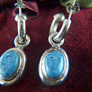 Vintage signed TAXCO MEXICO Sterling Silver and Blue Stone Huggie Pierced Earrings - 2 Differe