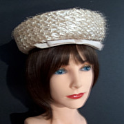 Vintage Cream Raffia Straw Hat with Grosgrain Ribbon and Net Trim - Leslie James Bullock's Los