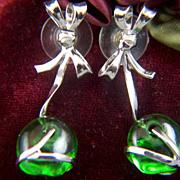 Vintage Sterling Silver Blown Green Glass Bow Drop Earrings - Post Backs