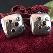 Vintage Modernist Sterling Silver and Onyx  Dots Puffy Square Clip Earrings