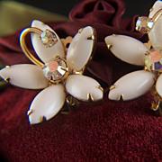 Vintage Julianna Milk Glass Aurora Borealis Rhinestone Clip Earrings