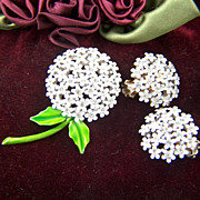 Vintage and Stunning signed WEISS White Enamel and Clear Rhinestone Brooch Pin and Clip Earrin