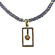 ROSE D'OR BLEUE- Gold plated Rose Pendant & Iolite Necklace