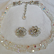SALE Avon of Belleville 2 Strand AB Crystals Necklace and Earrings.