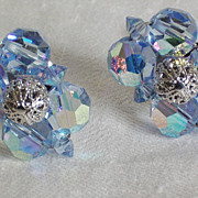 SALE Sherman Blue AB Crystal Silvertone Clip Earrings - signed.