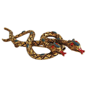 ART Enamel Rhinestone Goldtone Figural Snake Brooch