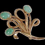 SALE Birks Vintage 14K Gold Jade Cabochon Brooch