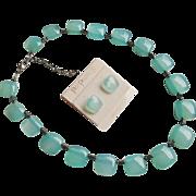 SALE Brazilian Aqua Chalcedony Sterling Necklace Earrings Set