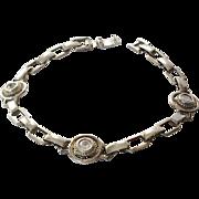 SALE Vintage Crystal and Stainless Steel Link Bracelet