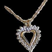 SALE Vintage 10K Two-Tone Gold Diamond Heart Necklace.
