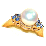 SALE 14K Pearl and Topaz Ring