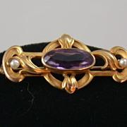 SALE 14K Art Nouveau Amethyst Pin