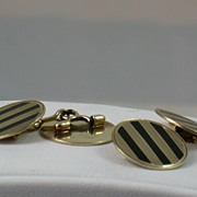 SALE Deco 14K Gold and Onyx Cuff Links