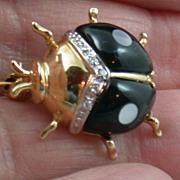 SALE 14K Enamel and Diamond Beetle