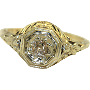 SALE Vintage 14K Gold .35CT Rose Cut Diamond Filigree Ring