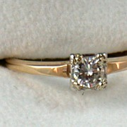 SALE Estate 14K .40CT Diamond Solitaire