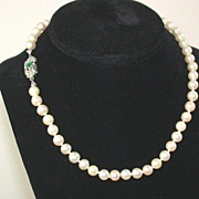 SALE 18K Edwardian Pearl Necklace 16""