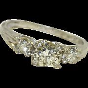 SALE 1940's Platinum 3  Diamond Ring 0.95 CT TW