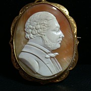 SALE 18K Gold and Shell Cameo of a Distinguished 19th C Gentleman