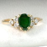 SALE Estate 14K Tourmaline and Diamond Ring