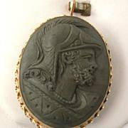 SALE Estate 18K Lava Cameo of Roman Soldier