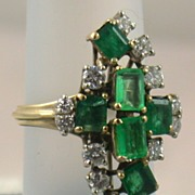 SALE Estate 14K Emerald and Diamond Dinner Ring