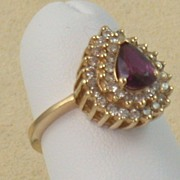 SALE Estate 14K Ruby and Diamond Ring