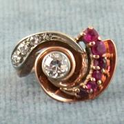 SALE 14K Retro Diamond and Ruby Ring