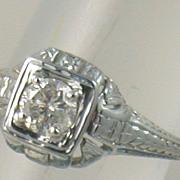 SALE 14K 0.40 CT Diamond Filigree Solitaire