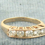 14K Five Diamond Pink Gold Ring 0.70 CT