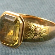 SALE Estate 18K Citrine Intaglio Ring