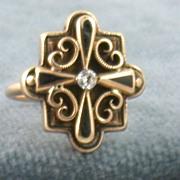 SALE Estate 14K Enamel and Diamond Ring