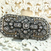 SALE Estate 18K Blackened Sterling Rose Cut and Miner Diamond Brooch