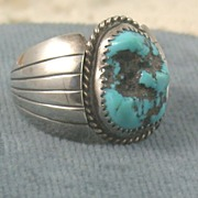 SALE Estate Sterling Turquoise Gents Ring