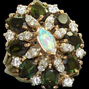 Estate 14K Tourmaline Diamond and Opal Princess Ring