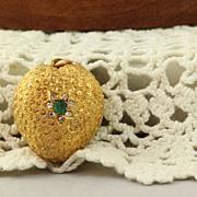 SALE 15 C Emerald and Diamond Strawberry Charm