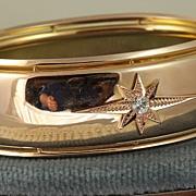 SALE Estate Rose Gold Diamond Star Bangle