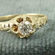 SALE Estate 14K 0.35 CT Old European Cut Diamond Ring