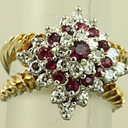 SALE Estate 14K Ruby and Diamond Princess Ring