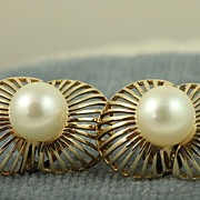 SALE Estate 14K Deco Pearl Earrings