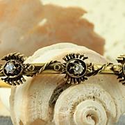 SALE 14K  Etruscan Revival 0.42 CT TW Diamond Bangle Bracelet