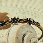 SALE 14K Etruscan Revival  0. 75 CT TW Garnet Bangle Bracelet