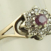 SALE 9K Ruby Diamond Ring