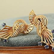 SALE Estate 14K Rose Gold Sapphire Retro Earrings
