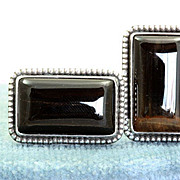 SALE Sterling R.E.  Babcock Tiger Eye Cuff Links