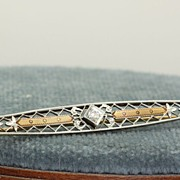 SALE Krementz 14K Edwardian Filigree Diamond Pin
